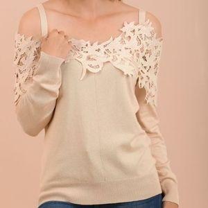 Umgee Lace Crochet OTS Sweater 528